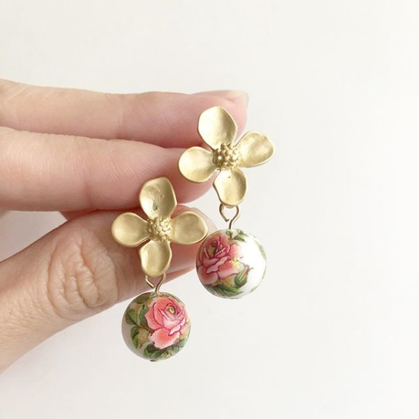 Classic Rose in White Matte Floral Earrings - Diary of a Miniature Enthusiast