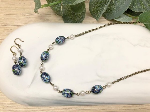 Blue Floral Necklace and Earrings with Swarovski Pearls  - Diary of a Miniature Enthusiast