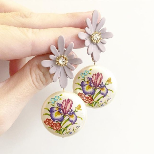 Purple Wildflowers Pearlescent Statement Lilac Floral Earrings - Diary of a Miniature Enthusiast