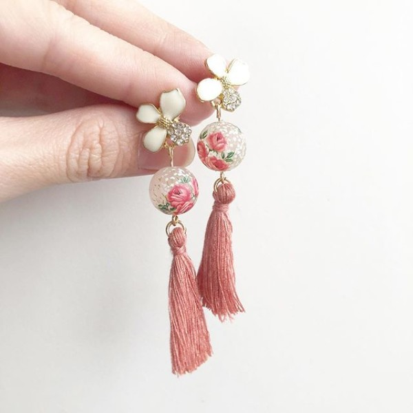 Triple Rose Tassels White Floral Earrings - Diary of a Miniature Enthusiast