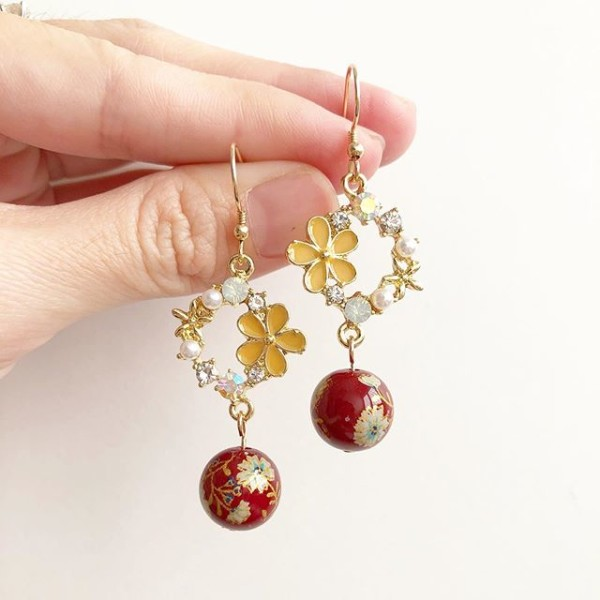 Wine Red Daffodils Floral Earrings with Gold Filled hooks - Diary of a Miniature Enthusiast