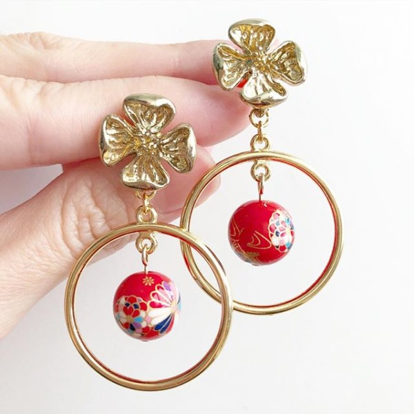 Red Kimono Tensha Floral Earrings - Diary of a Miniature Enthusiast