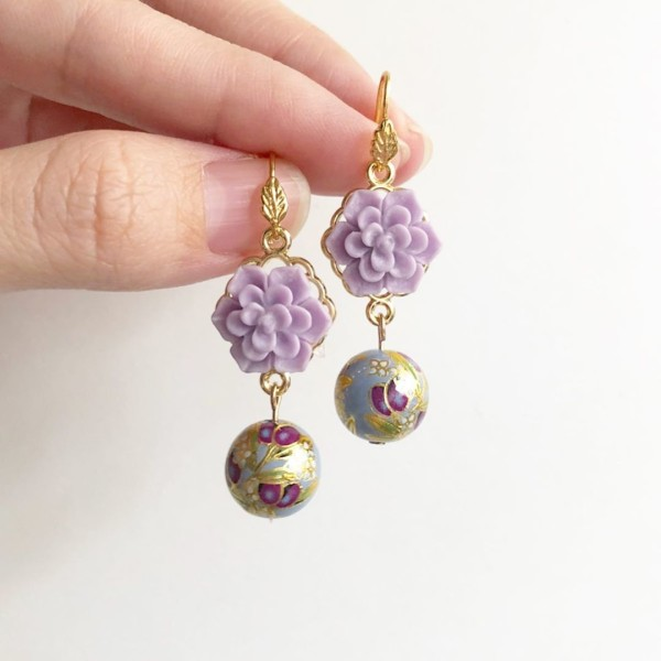 Purple Buds Baby Blue Gold Leaf Earrings - Diary of a Miniature Enthusiast