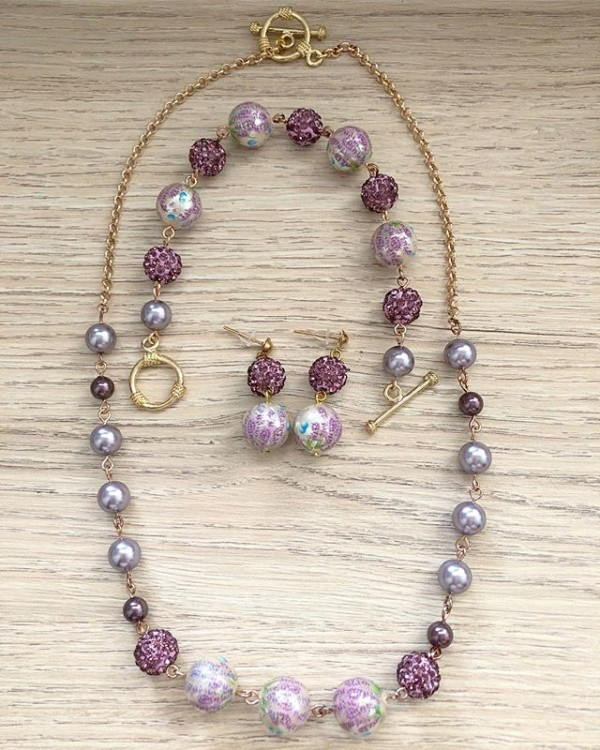 Lilac Earrings, Bracelet and Necklace - Diary of a Miniature Enthusiast