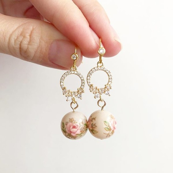 Pastel Pink Rose in Light Blush Cubic Zirconia Earrings - Diary of a Miniature Enthusiast