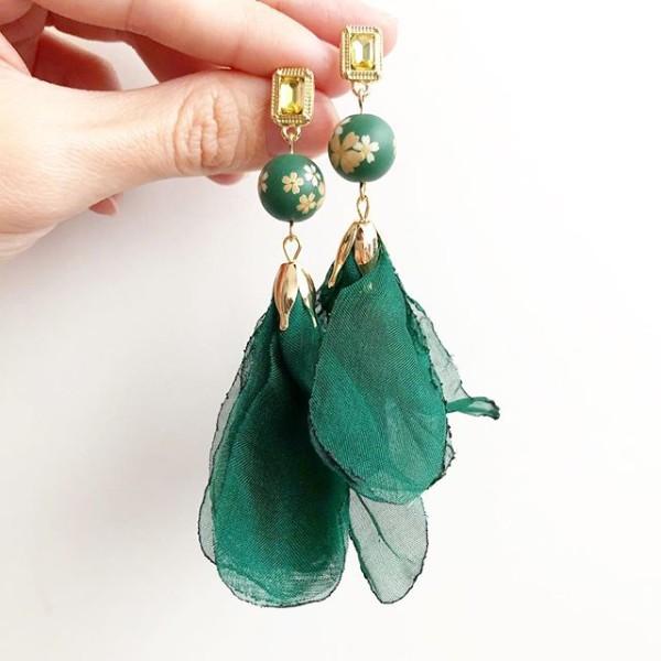 Emerald Green Sakura Long Earrings - Diary of a Miniature Enthusiast