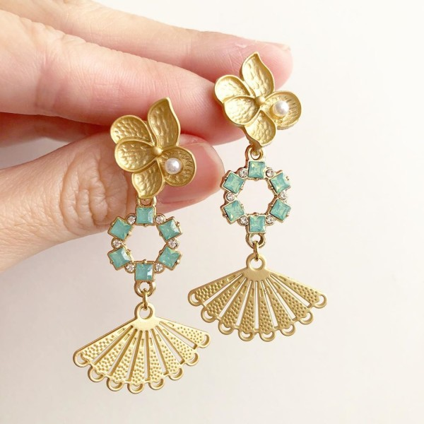 Mint and Matte Gold Flare Earrings - Diary of a Miniature Enthusiast