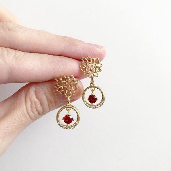 Precious Red Drop Earrings (Cubic Zirconia stones) - Diary of a Miniature Enthusiast