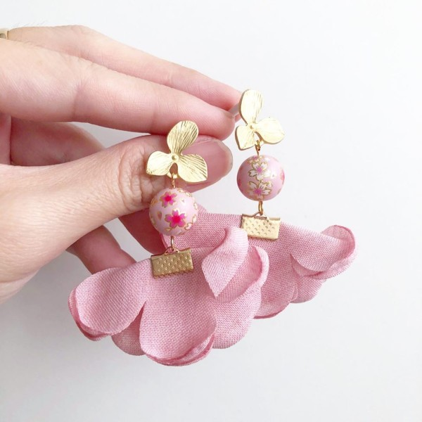 Sweet Pink Sakura Soft Flare Earrings - Diary of a Miniature Enthusiast