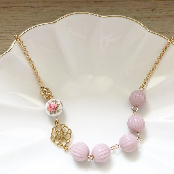 Pastel Pink Rose Necklace - Diary of a Miniature Enthusiast
