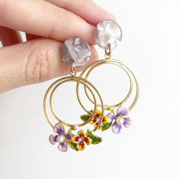 Purple and Yellow Floral Earrings - Diary of a Miniature Enthusiast