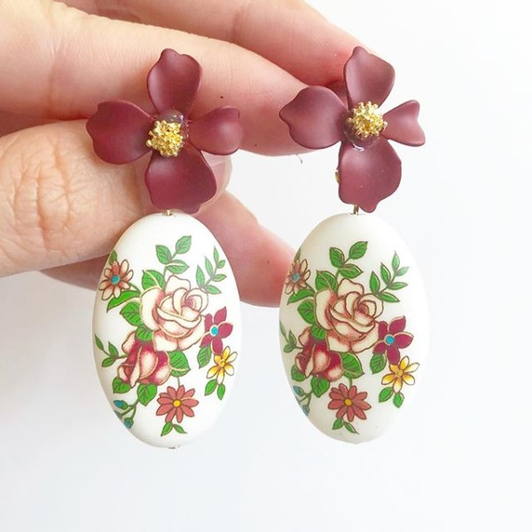 Vintage Rose Statement Matte MaroonFloral Tensha Earrings - Diary of a Miniature Enthusiast