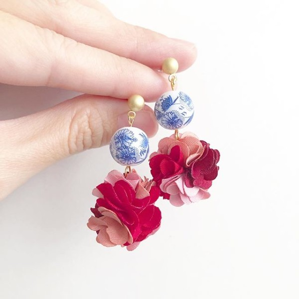 Chinoiserie Chic Pompoms Earrings - Diary of a Miniature Enthusiast