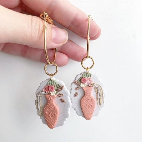 Ikebana III Statement Scalloped Oval Hoop Convertible Earrings - Diary of a Miniature Enthusiast