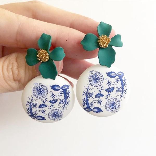 Matte Porcelain Statement Matte Green Floral Tensha Earrings - Diary of a Miniature Enthusiast