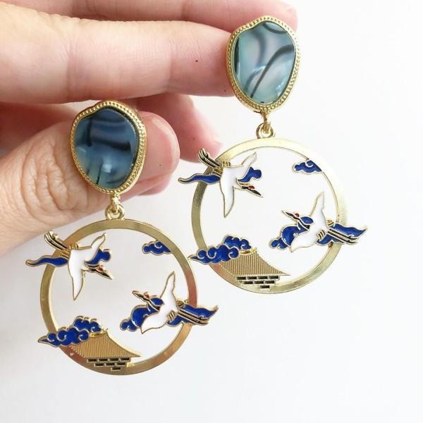 Blue Crane Earrings - Diary of a Miniature Enthusiast