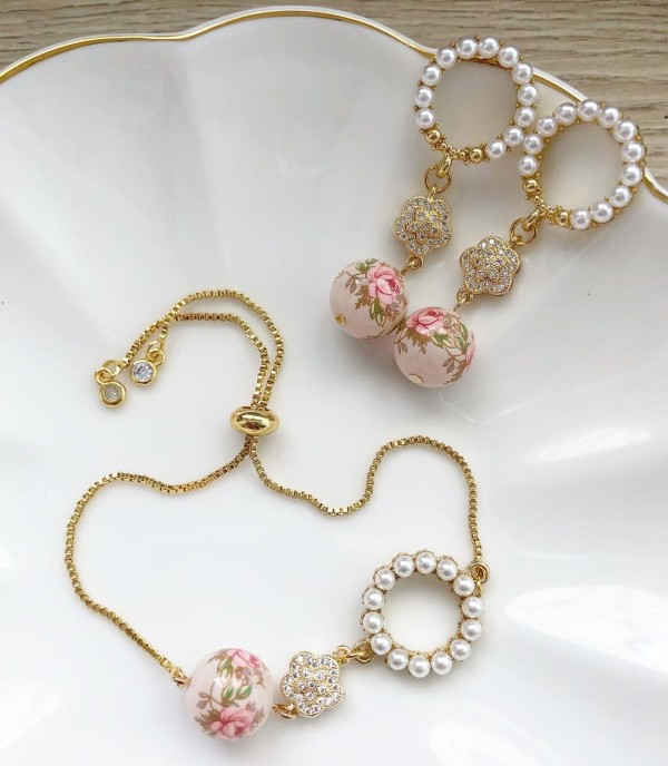 Pastel Pink Rose in Light Blush Link Set (Cubic Zirconia Links) - Diary of a Miniature Enthusiast