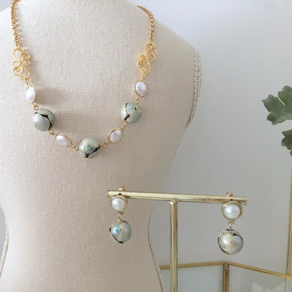 Pearl and Silver Necklace and Earrings - Diary of a Miniature Enthusiast