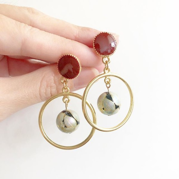 Maroon Gold Ring Earrings  - Diary of a Miniature Enthusiast