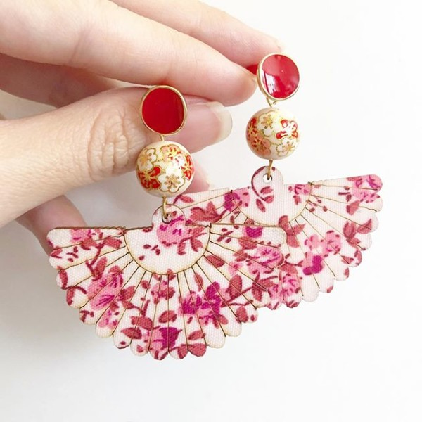 Pale Blush Plum Blossoms Floral Fan Earrings - Diary of a Miniature Enthusiast