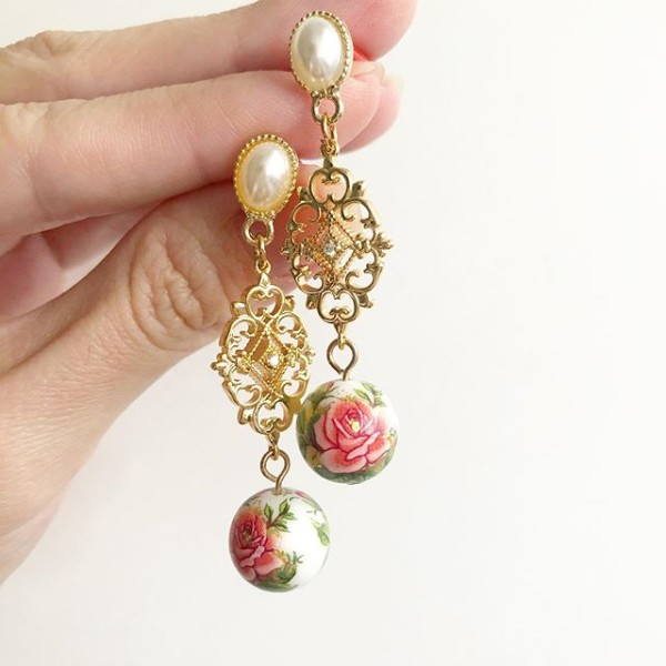 Classic Rose in White Intricate Long Earrings - Diary of a Miniature Enthusiast