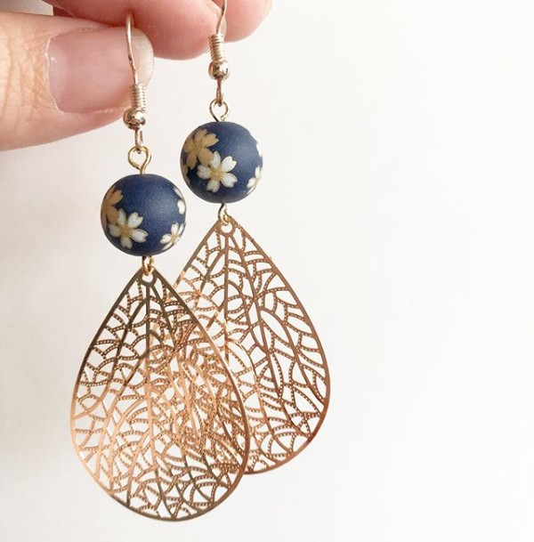 Navy Blue Sakura with Rose Gold Dangles  - Diary of a Miniature Enthusiast