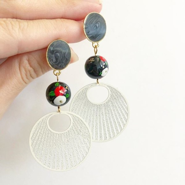 Red Poppy Filigree Earrings - Diary of a Miniature Enthusiast