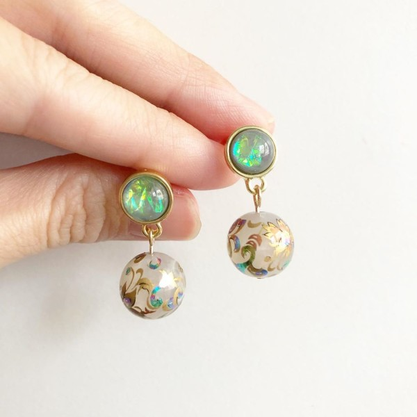 Opal Multicolored Swirls Earrings - Diary of a Miniature Enthusiast