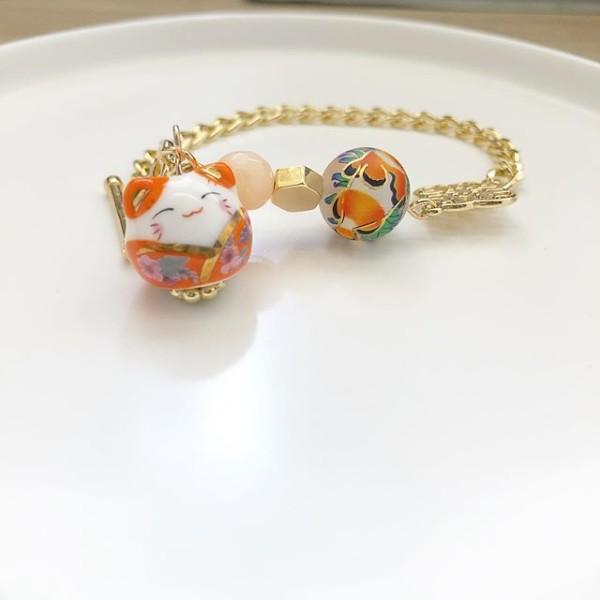 Orange Lucky Cat Tensha Charm Bracelet - Diary of a Miniature Enthusiast