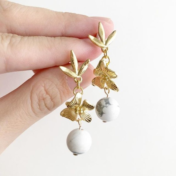 Gold and White Howlite Earrings - Diary of a Miniature Enthusiast