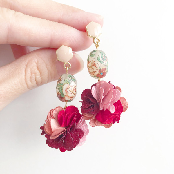 Frosted Vintage Rose Pompoms Earrings - Diary of a Miniature Enthusiast