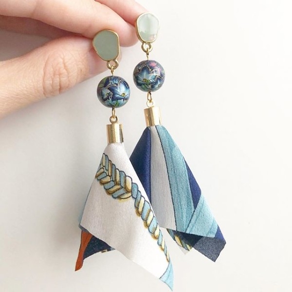 Blue Lily Silk Twilly Earrings - Diary of a Miniature Enthusiast