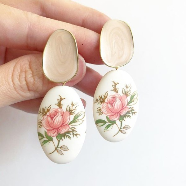 Pastel Pink Rose Statement Matte Tensha Earrings - Diary of a Miniature Enthusiast