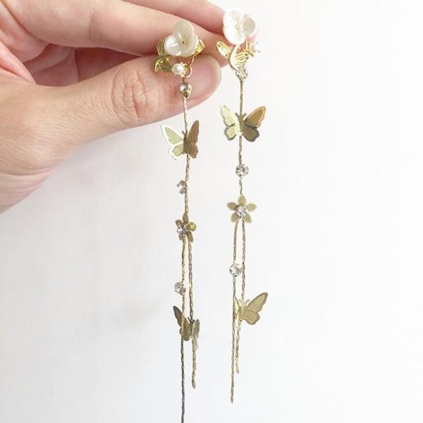 Garden Butterfly Flower Stalk II c/w Long Dangle Stopper Earrings - Diary of a Miniature Enthusiast