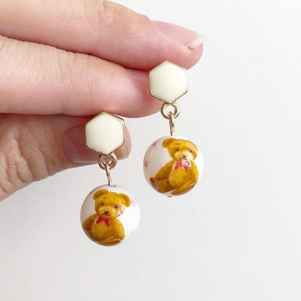 Honey Bear in White Tensha Earrings - Diary of a Miniature Enthusiast