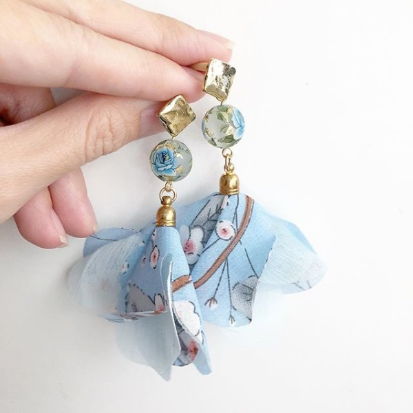 Light Blue Frosted Rose Floral Organza Dangle Earrings - Diary of a Miniature Enthusiast