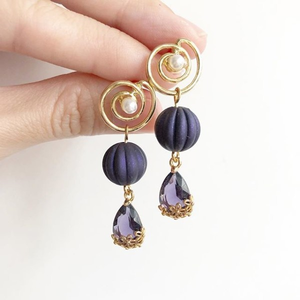 Purple and Gold with Pearl Floral Earrings - Diary of a Miniature Enthusiast