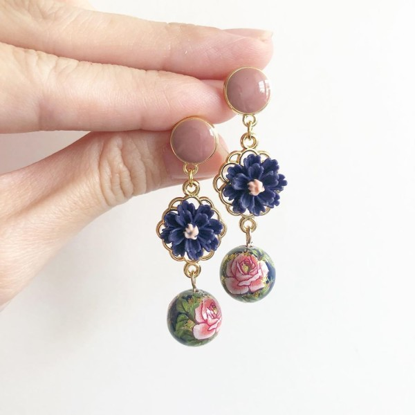 Classic Rose in Navy Floral Cabochon Earrings - Diary of a Miniature Enthusiast