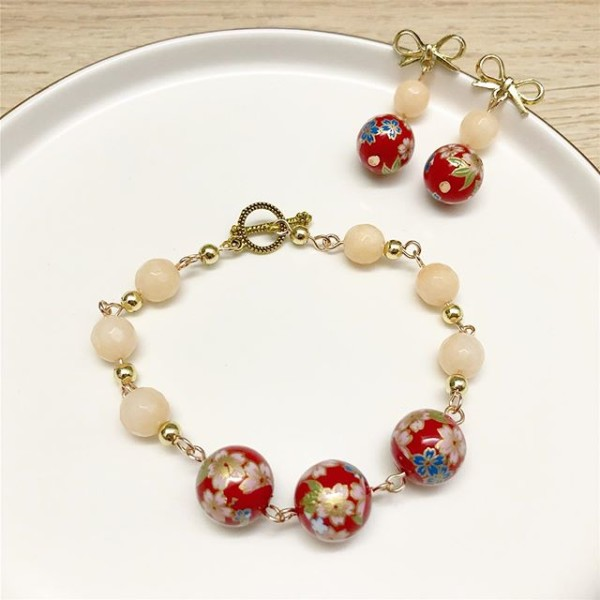 Red and Pink Floral Bracelet and Earrings - Diary of a Miniature Enthusiast