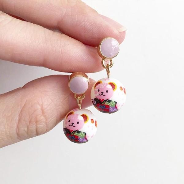 Black Kimono Bear Tensha Earrings - Diary of a Miniature Enthusiast