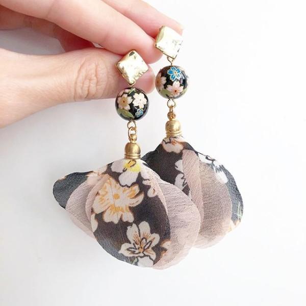 Black Blush Pink Sakura Dangle Earrings - Diary of a Miniature Enthusiast