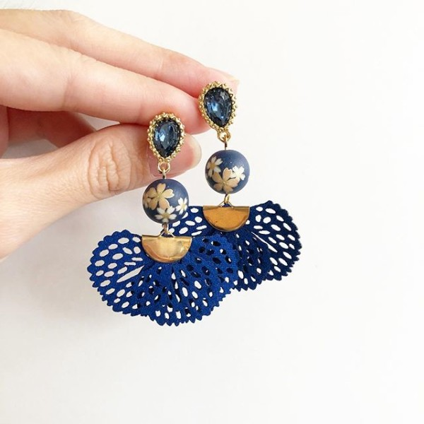 Navy Blue Sakura Flare Earrings - Diary of a Miniature Enthusiast