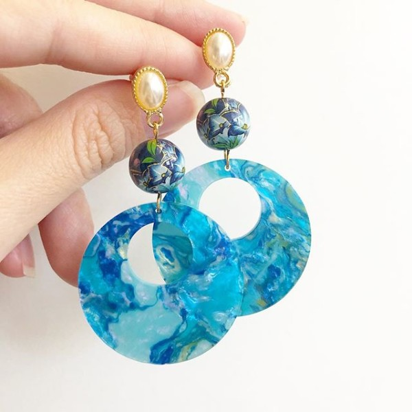 Blue Lilies Waterscape Dangle Earrings - Diary of a Miniature Enthusiast