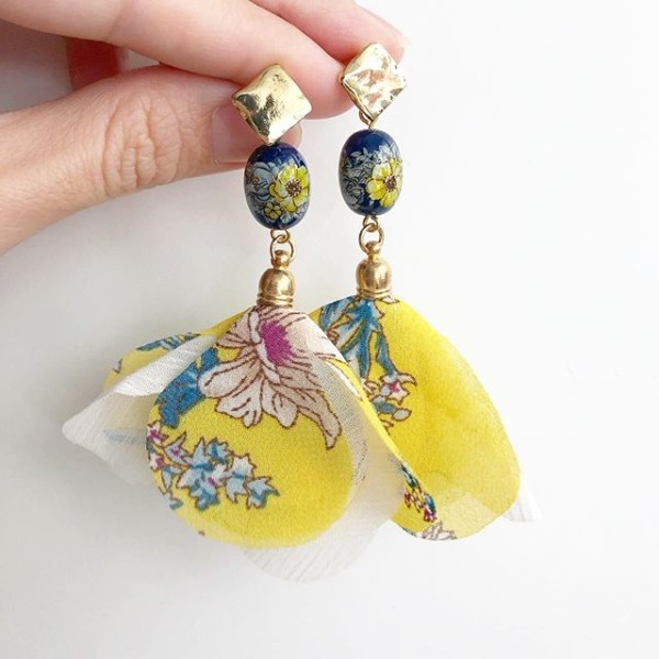 Yellow Marigold Organza Floral Dangle Earrings - Diary of a Miniature Enthusiast