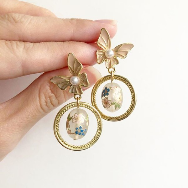 Frosted Pastel Sakura Butterfly Earrings - Diary of a Miniature Enthusiast