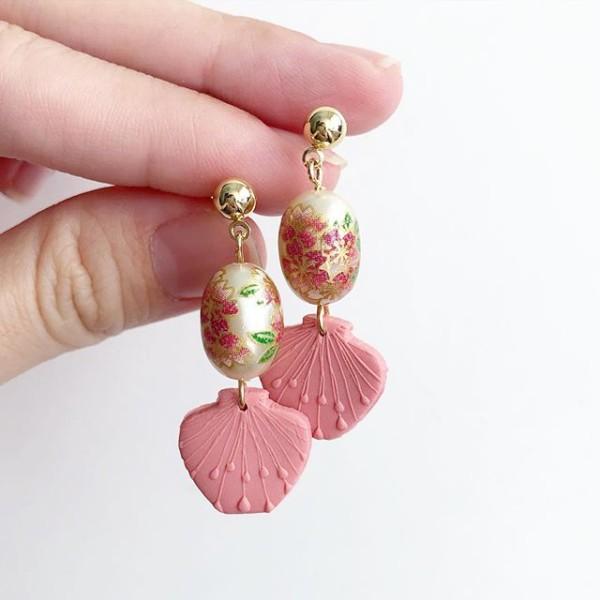 Ikebana III Sakura in a Vase Earrings - Diary of a Miniature Enthusiast