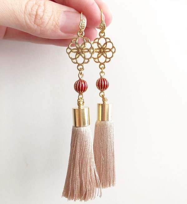 Knot Premium Taupe Silk Tassels Earrings - Diary of a Miniature Enthusiast