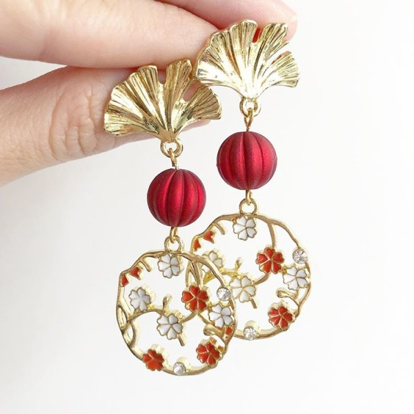 Red and Gold with Floral Earrings - Diary of a Miniature Enthusiast