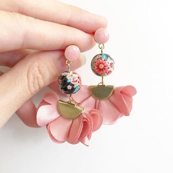 Black Sakura Blossoms Flare Earrings - Diary of a Miniature Enthusiast
