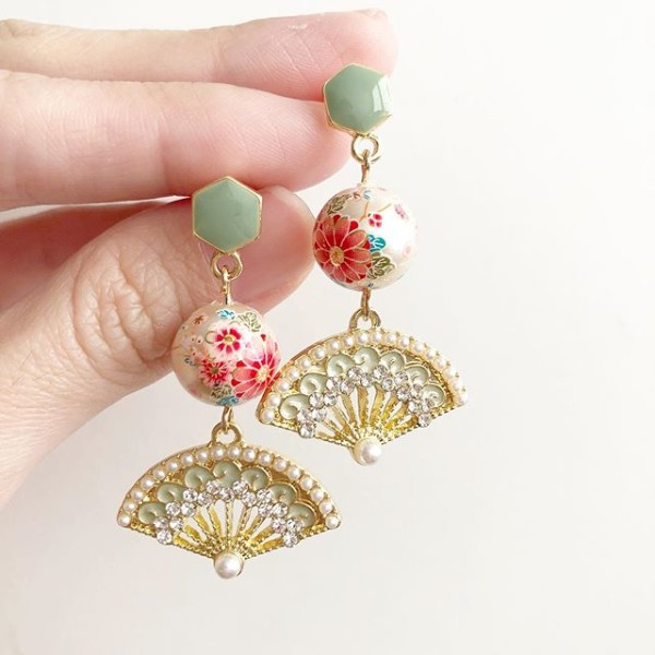 Sakura with Sage Fan Earrings - Diary of a Miniature Enthusiast